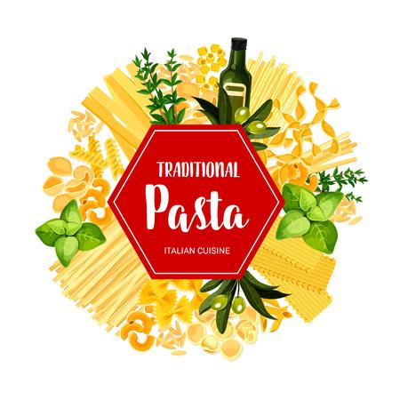 Pasta italiana e piatti tradizionali di maccheroni. Banner di menu ristorante vettoriale di lasagne, linguine o ravioli e pasta farfalle con spezie e ingredienti da cucina, olio d'oliva o basilico e rosmarino