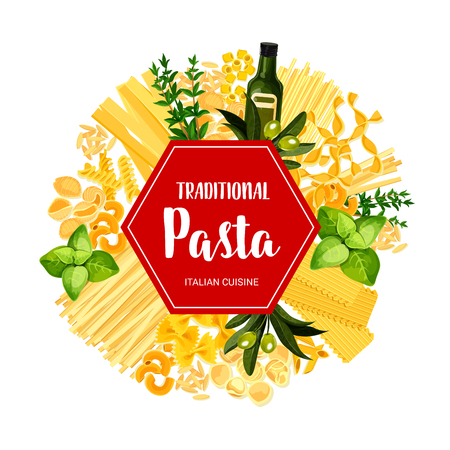 Italian pasta and traditional macaroni dishes. Vector restaurant menu banner of lasagna, linguine or ravioli and farfalle pasta with cooking spices and ingredients, olive oil or basil and rosemary Illustration