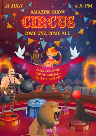Circus show, chapiteau performance, clown and athlete, trained animals. Vector joker in wig, strong man with dumbbell and barbell. Monkey jugglers and seal with ball, lion and doves, hoops in fire