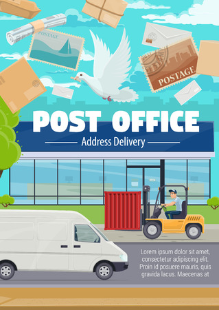 Post office and mail delivery of newspapers, letter envelopes with stamps. Vector correspondence postage services, shipping pickup van, courier at post warehouse on loader pallet truck