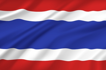 Thailand flag, wavy realistic 3D background. Vector Thai and Bangkok symbol, Asian country national banner flag of red, white and blue horizontal stripes Illustration