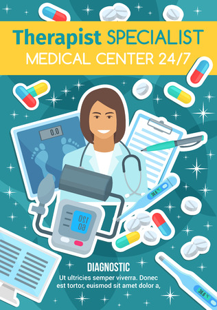 Therapist doctor, health diagnostic clinic and therapy medical consultation. Vector medicine pills and therapy equipment, stethoscope or thermometer and tonometer or blood pressure monitor