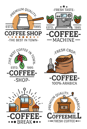 Coffee shop, cafe and coffehouse icons or emblems. Vector coffee machine maker, French press and espresso, americano cup and coffee machine steam or Arabica beans roast in bag
