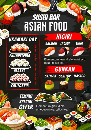 Sushi bar menu of sushi rolls, sashimi and maki. Vector Japanese Alaska, Philadelphia and California roll, salmon or laceda and tuna with scallop and masago in rice and nori seaweed