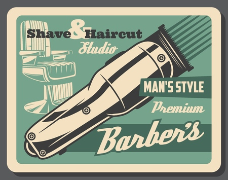 Barbershop haircut studio or men hairdresser salon vintage poster. Vector barber shop beard or mustaches shave trimmer and chair
