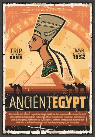 Ancient Egypt culture landmarks tours and historic travel. Vector ancient Egyptian Nefertiti princess, Cheops and Tutankhamen pyramids with camels in Cairo or Giza