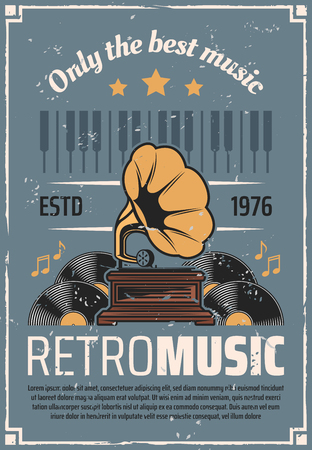 Retro music vintage vinyl record gramophone or phonograph with piano notes. Vector retro radio station or live jazz and swing music party Ilustração