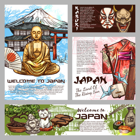 Japan history and culture tradition symbols. Vector sushi, geisha kimono or tea ceremony cup and ikebana samurai with Go and Shogi game, Japanse musical instrument shamisen and origami