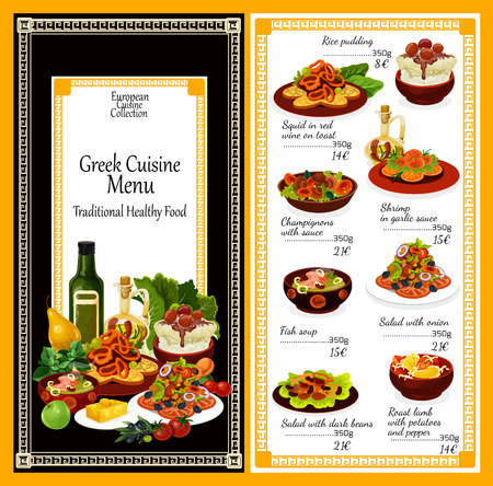 Greek cuisine traditional dishes menu. Vector Greek meals salads and snacks rice pudding, squid in red wine on toast, shrimp in garlic sauce or champignons and onion salad or fish soup Ilustração