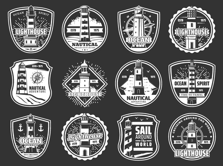 Nautical lighthouse, beacon and marine compass winds rose icons. Vector seafarer ocean spirit and sea travel cruise symbols of frigate ship anchor, helm and seagulls