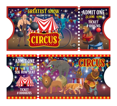 Circus show tickets, performers or artists and trained animals. Vector strongman with weight and dumbbell, acrobat on unicycle and striped tent. Lion and seal, elephant and tiger, monkey juggler, bear 스톡 콘텐츠 - 127021784