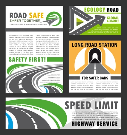 Road safety service and eco clean roads global construction alliance posters and banners. Vector transport traffic and highway or vehicle motorway and tunnels building company design