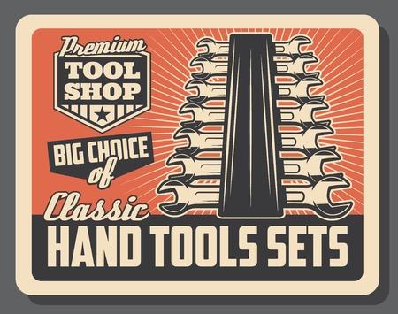 Handliches Werkzeug shop Vintage altes Poster. Vektorschlüssel und Schraubenschlüssel-Toolkit, Handwerkerservice oder Reparatur- und Bau- oder Fahrzeugreparaturwerkzeugwerkstatt Vektorgrafik