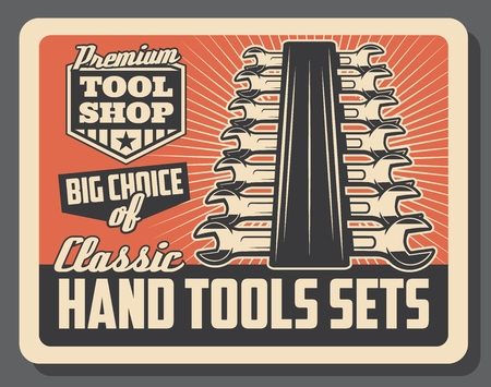 Handy tools shop vintage old poster. Vector Wrenches and spanners toolkit, handyman service or repair and construction or vehicle repair tools workshop Illustration