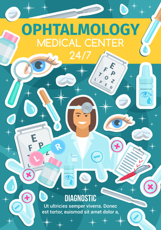 Ophthalmology eye vision diagnostics or ophthalmologist medical clinic poster. Vector eyesight test, glasses or optical lenses and surgery scalpel, doctor with drops and pills Illustration