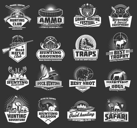 Hunting sport, hunter ammo and hunt trophy animals heraldic icons. Vector hunting club badges, African safari lion, elephant or zebra and giraffe, rabbit with grouse, duck and hog with rifle and trap