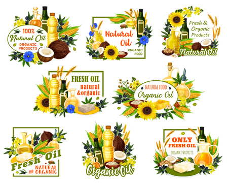 Natural vegetable oils of sunflower, olive and nuts, vector posters. Oil bottles and jars with organic coconut butter or avocado and hemp seed or hazelnut and corn cooking oil