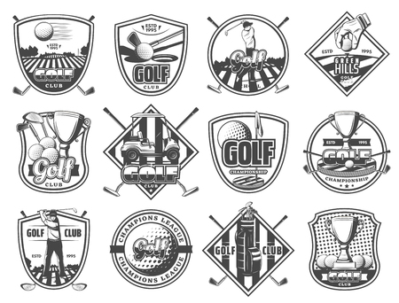 Golf club sport champioship icons. Vector herlaldic emblems and badges of golf equipment, ball and club or vicotry cup award and cart on tee course