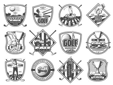 Icone del campionato di sport club di golf. Emblemi araldici vettoriali e distintivi di attrezzatura da golf, palla e mazza o premio coppa vicotry e carrello sul percorso a tee