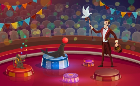 Circus arena, magician conjurer juggler or animal handler with dove on stick, trained monkey and seal juggling or balancing balls. Vector circus performance arena with seats