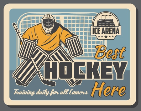 Ice hockey sport training club, vector retro poster. Ice hockey player or goalkeeper with hockey stick and puck on ice rink arena with stars badge