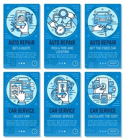 Car service or vehicle diagnostics and auto wash mobile application templates. Car repair and transport restoration garage station smartphone app vector thin line design Illustration
