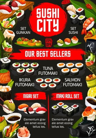 Sushi bar menu Japanese cuisine of Asian food restaurant. Vector sushi and rolls sets with gunkan, futomaki or salmon maki and nigiri with nori seaweed salad and chopsticks
