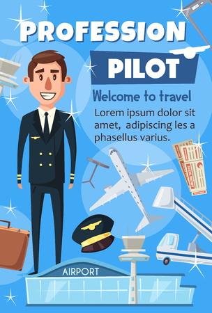 Civil aviation pilot and passenger air transportation. Vector professional pilot crew and airport staff resume or recruitment agency poster of airplane or private jet flight attendant