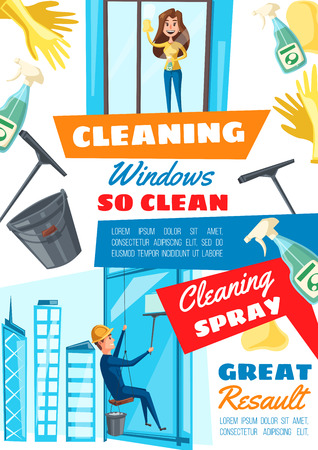 Window cleaning home and rope access service. Vector rope access technician clean building windows, housewife with sponge, glass cleanser and scraper 向量圖像