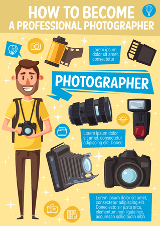 Photographer and professional photography equipment. Vector cartoon cameraman or journalist man with camera, SD storage memory card, optic lens and photo films or camera flash
