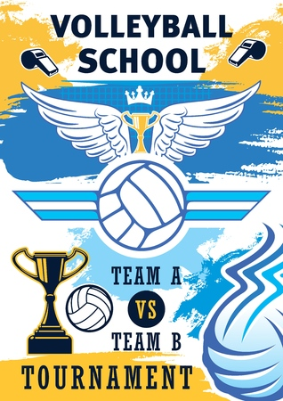 Volleyball sport training or school team tournament poster. Vector volleyball ball, championship victory cup with wings and crown or referee whistles