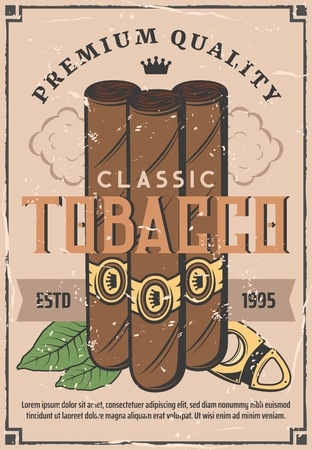 Cigars and tobacco retro poster. Vector cigarettes with Cuban Havana premium quality label and cutter, tobacco production factory or gentleman smoking club
