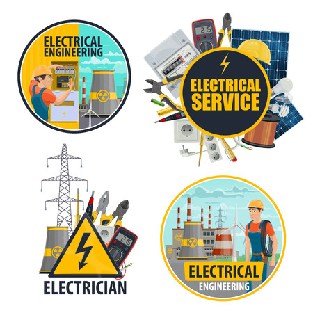 Electricity and energy power service or electrical equipment. Vector electrician, light bulb and voltage tester, nuclear power plant and solar battery, ammeter and voltmeter or electricity cables reel