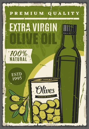 Olive oil extra virgin product, farming and agriculture products vintage poster. Vector natural organic olive oil bottle and pickled or marinated olives in can Ilustrace
