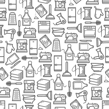 Home appliances and household kitchen utensils seamless pattern. Vector thin line cooking stove and apron, needlework sewing machine thread and needle, coffee machine or hair dryer and bathroom towels Stock Illustratie
