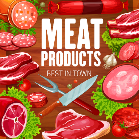 Butchery meat products and butcher shop sausages. Vector grocery store meaty sausages, beef steak or pork ham, smoked brisket meat and salami or pepperoni and cervelat gastronomy