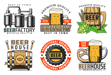 Premium brewery or beer production factory and brewing company icons. Vector traditional beer bottle with hop leaf, malt and quality star