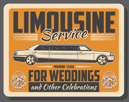 Limousine car rental service retro vintage poster. Vector limo automobile and flowers on wedding or holiday celebration party event Illustration
