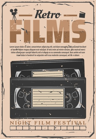 VHS video cassette poster, old movie video digitization. Night cinema festival or retro cinematography movie premiere, filmmaking camera and producer clapperboard
