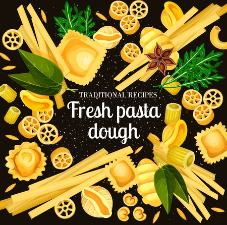 Italian pasta traditional durum dough. Vector Italy cuisine pasta cooking spices and ingredients, spaghetti, fettuccine and ravioli or tagliatelle and lasagna with linguine Archivio Fotografico - 114800450