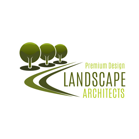 Premium design landscape architects vector icon isolated on white background. Concept of landscaping gardening and city urban horticulture. Sign for landscape designing and environment ecology project
