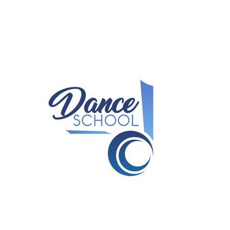 Dance school vector sign. Creative emblem for dance studio. Disco or classical dance, ballet or modern dancing concept. Flamenco dance vector badge in blue color isolated on white background Stock Illustratie