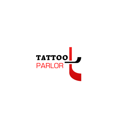 Tattoo parlor vector icon isolated on a white background. Creative badge for tattoo salon in black and red colors. Advertising sign, concept of professional tattooing and piercing