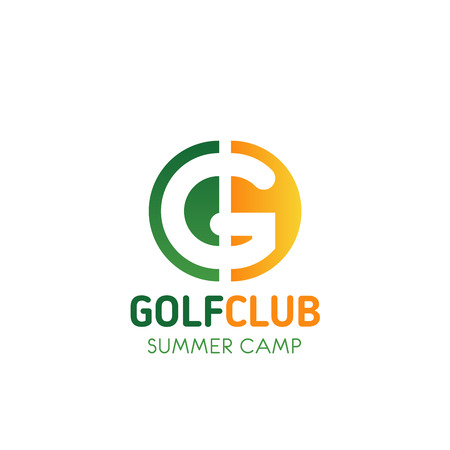 Letter G icon for golf sport club or summer camp team badge design. Vector green nature letter G symbol for tourist hiking or mountain travel or camping outdoor adventure