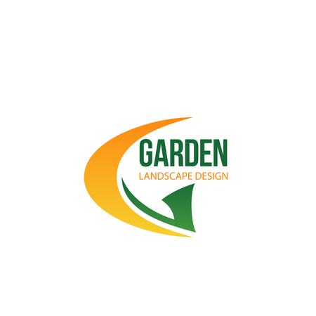 Letter G icon for landscape design company or garden landscaping service and green horticulture association design. Vector gardening tools axe or hoe and sickle symbols in letter G Banque d'images - 114195675