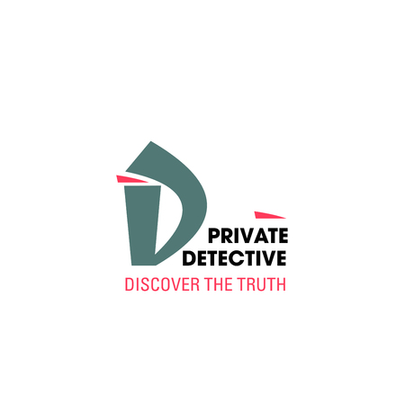 Icono de letra D para agencia de detectives o investigación policial y servicio de investigador privado. Vector símbolo secreto de la letra D para la empresa de agentes espías o el departamento de inspectores de archivos criminales