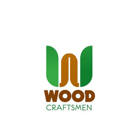 Holzhandwerker-Vektorsymbol isoliert auf weißem Hintergrund. Abstraktes Abzeichen für professionelles Dienstleistungsunternehmen der Holzbearbeitung. Schreinerberufskonzept, Emblem in braunen und grünen Farben