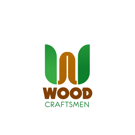 Wood craftsman vector icon isolated on a white background. Abstract badge for wood works professional service company. Carpenter profession concept, emblem in brown and green colors