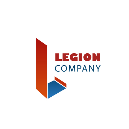 Legion company abstract vector sign. Vector emblem for any company with letter L. Creative badge in red and blue colors. Icon for security agency or guard service company Illustration