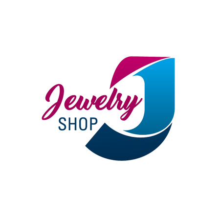 Letter J icon for jewelry shop or diamonds and fashion jewel accessories boutique. Vector letter J symbol for luxury silver, gold and precious jewelry gems luxury brand shop or bijouterie salon